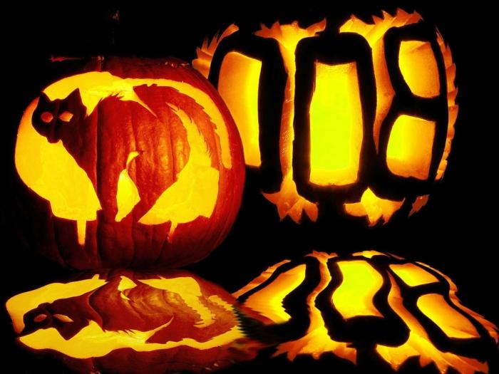 halloween-kürbisse-sehr-schreckliche-katze-figur