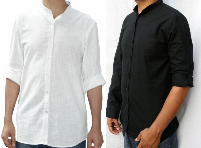 hemd-ohne-kragen-weiß-und-schwarz