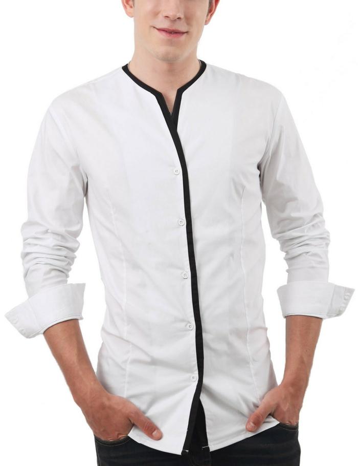 hemd-ohne-kragen-weiße-farbe