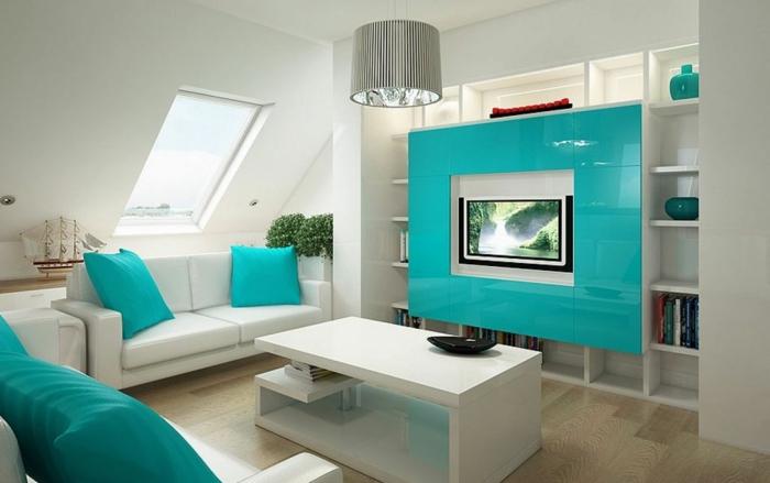 schöne wohnzimmer farbe:schöne kissen in türkis farben – elegantes kleines wohnzimmer