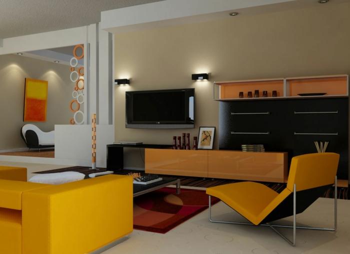 Indirekte Beleuchtung Fürs Wohnzimmer Cooles Aussehen Orange Möbel
