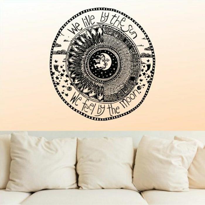 interessante-Wandgestaltung-Wandsticker-Mond-Sonne