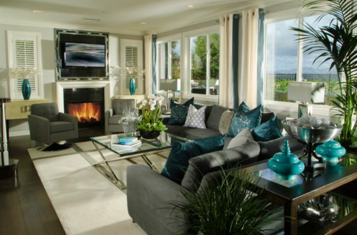 Kissen in t rkis farbe f r eine kreative gestaltung - Wohnzimmer farbe gestaltung ...
