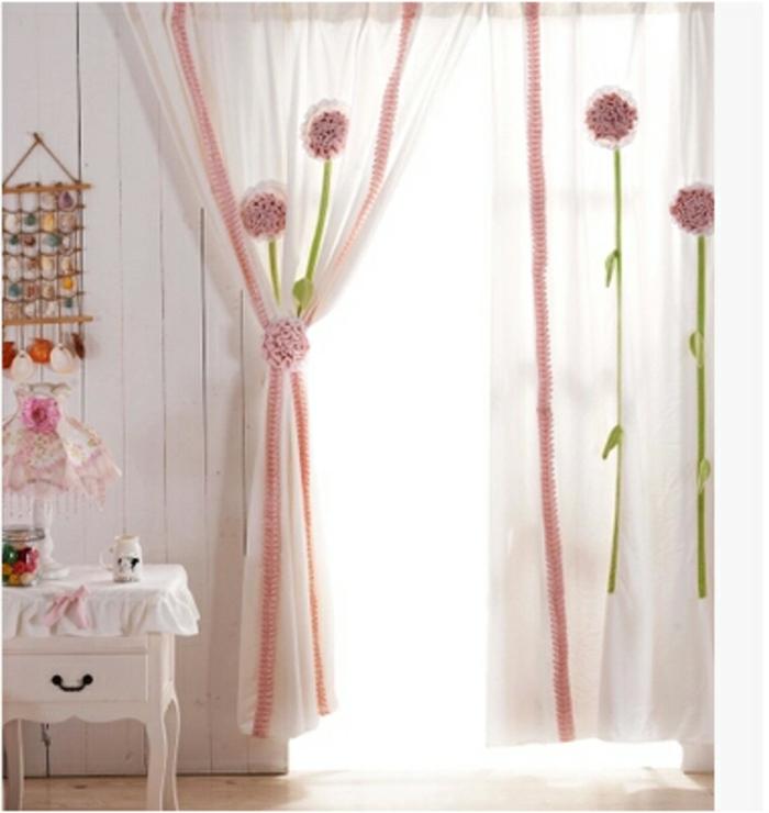 kinder gardinen-mädchen-rosige-deko