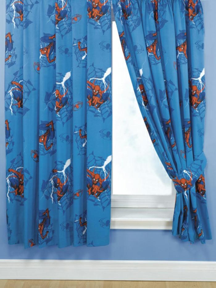 kinder gardinen-spiderman-blaue