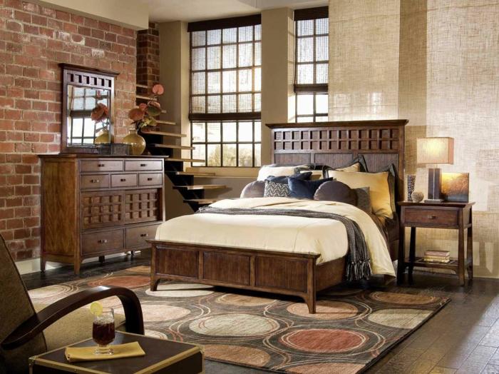 klassisch-eingerichtetes-Schlafzimmer-rustikale-Möbel-modern-gemütlich-Holz