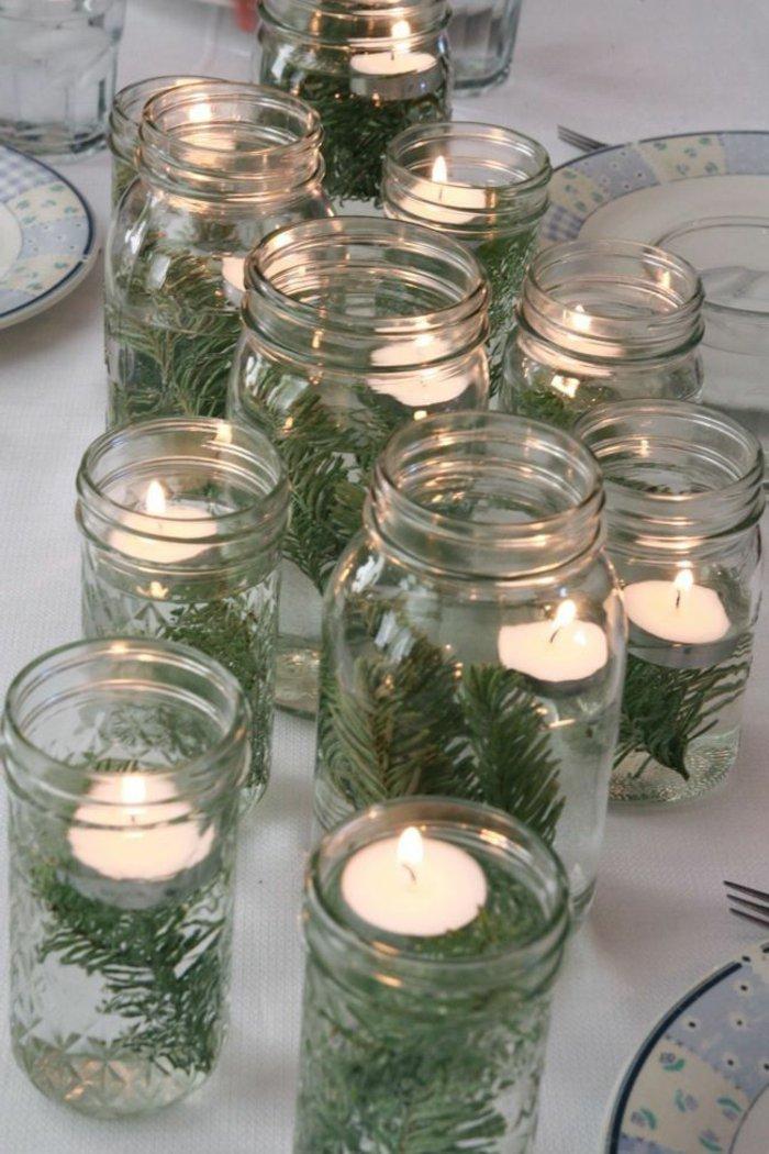 kokette-weihnachtliche-Tischdeko-Einmachgläser-Kerzen-Erlenzweige