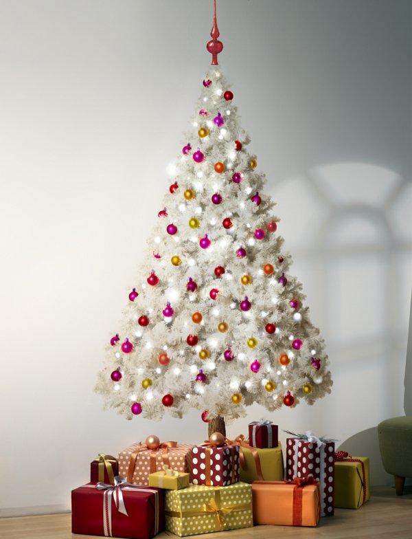 koketter-weihnachtsbaum-künstlich-weiss-bunte-Kugeln-Geschenke