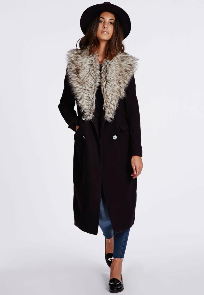 langes-Modell-Wintermantel-Damen-Pelzkragen-Hut-Jeans