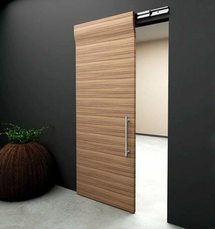 moderne-Wohnung-schwarze-Wände-hölzerne-Tür-Rattankorb