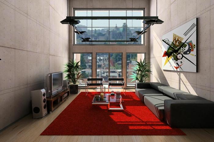 moderne-teppiche-schicke-rote-farbe
