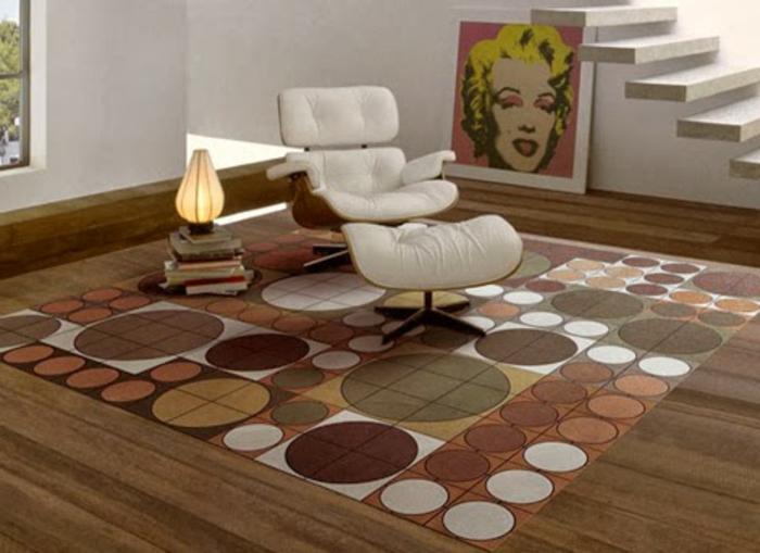 moderne-teppiche-weißer-liegestuhl