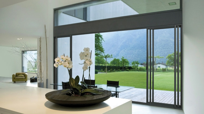 modernes-Haus-Ferienhaus-Schiebetüren-Glas-Ausblick-weiße-Wände-Orchideen