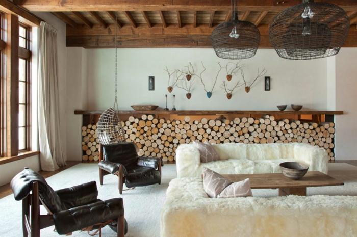 modernes-rustikales-Interieur-landhausstil-möbel-Leder-Pelz-Holz-Stümpfe-interessante-Leuchten