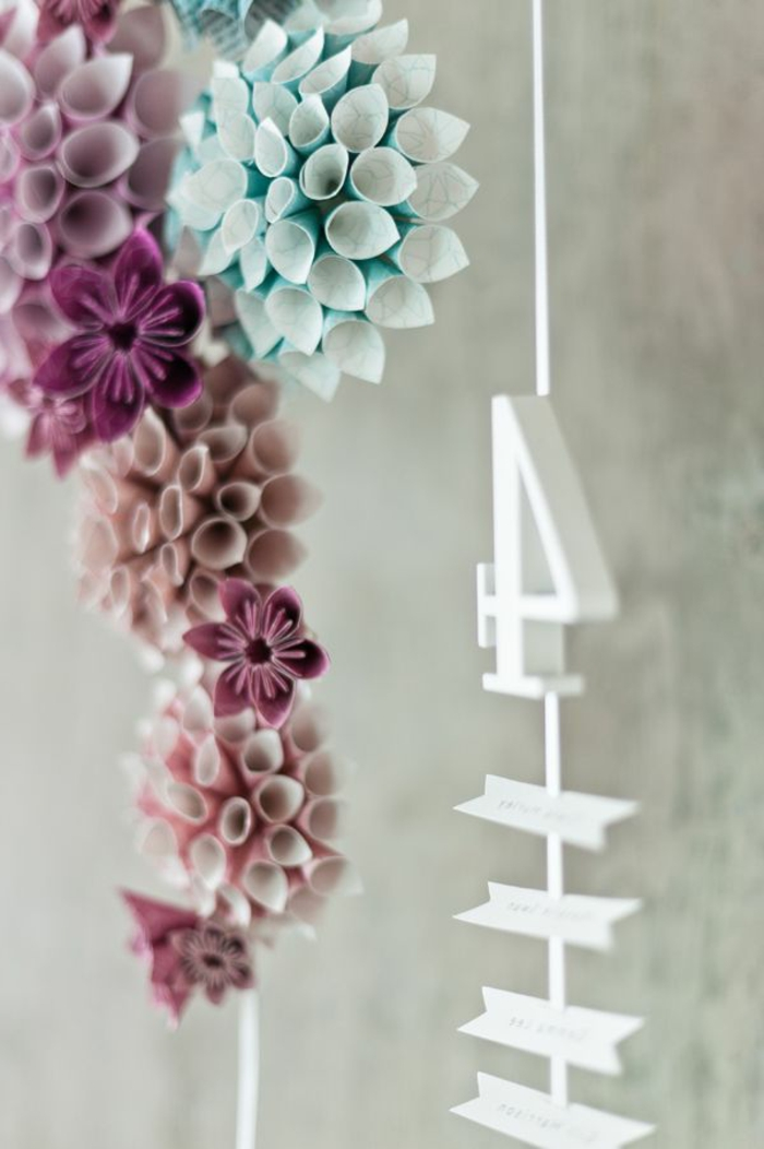 origami-Dekoration-Papierblumen-zärtliche-Farbschemen