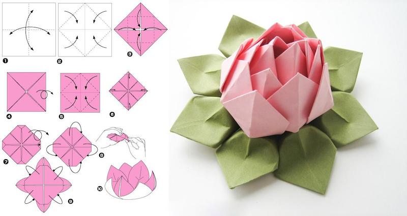 origami anleitung einfach lotusblume falten in zwei farben