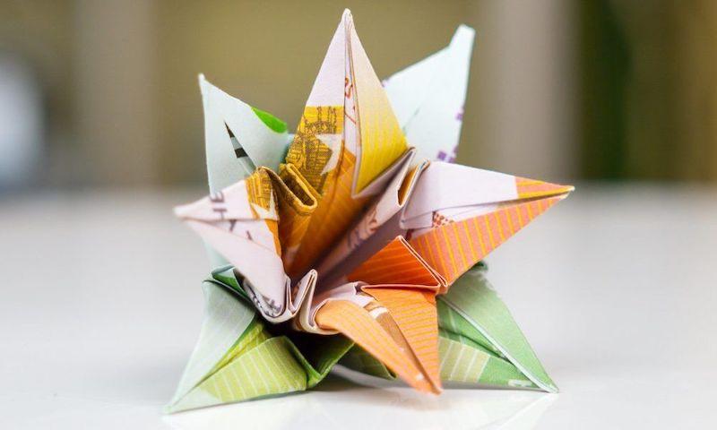 origami blume anleitung blume aus euro schien falten