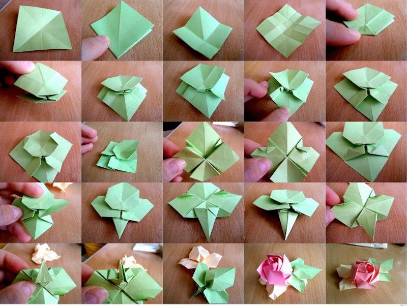 origami blume falten rose falten mit grünen blättern