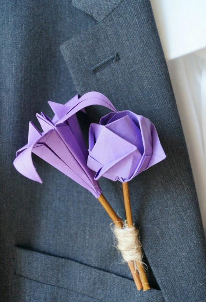 origami-blumen-Jacke-Dekoration-Hochzeit-lila-Farbe-handgemacht