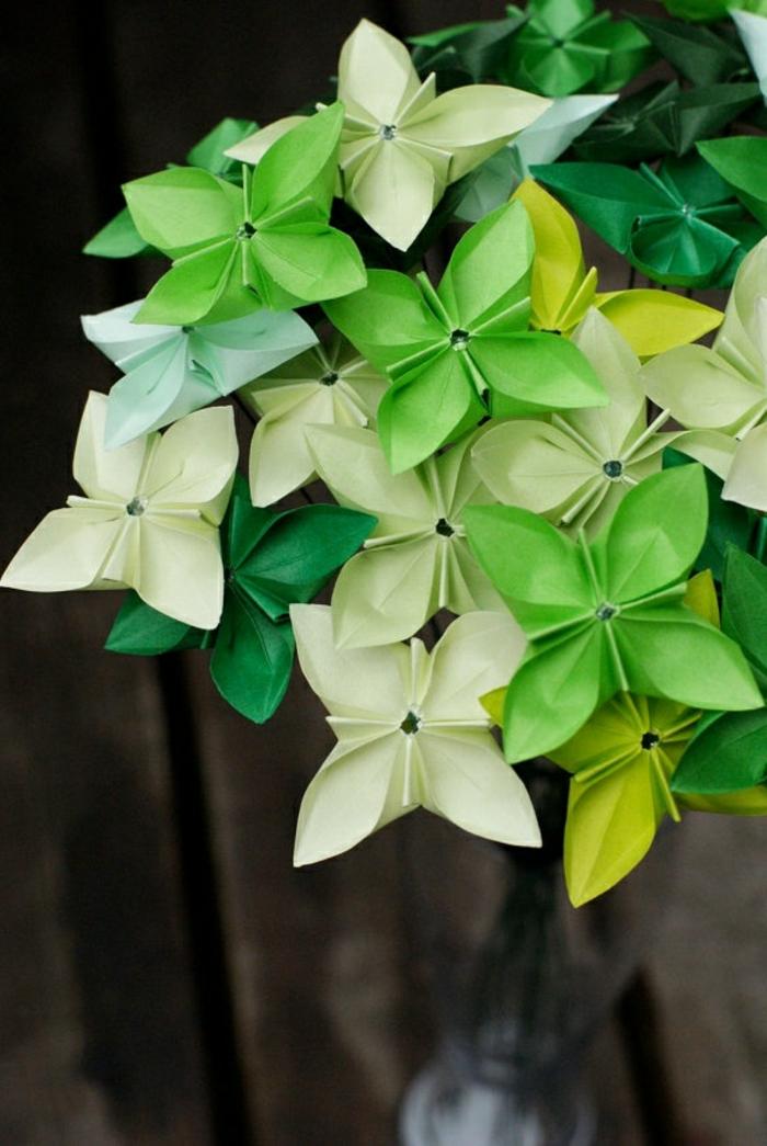 origami-blumen-grüne-Nuancen-frisch-kreativ-handgemacht