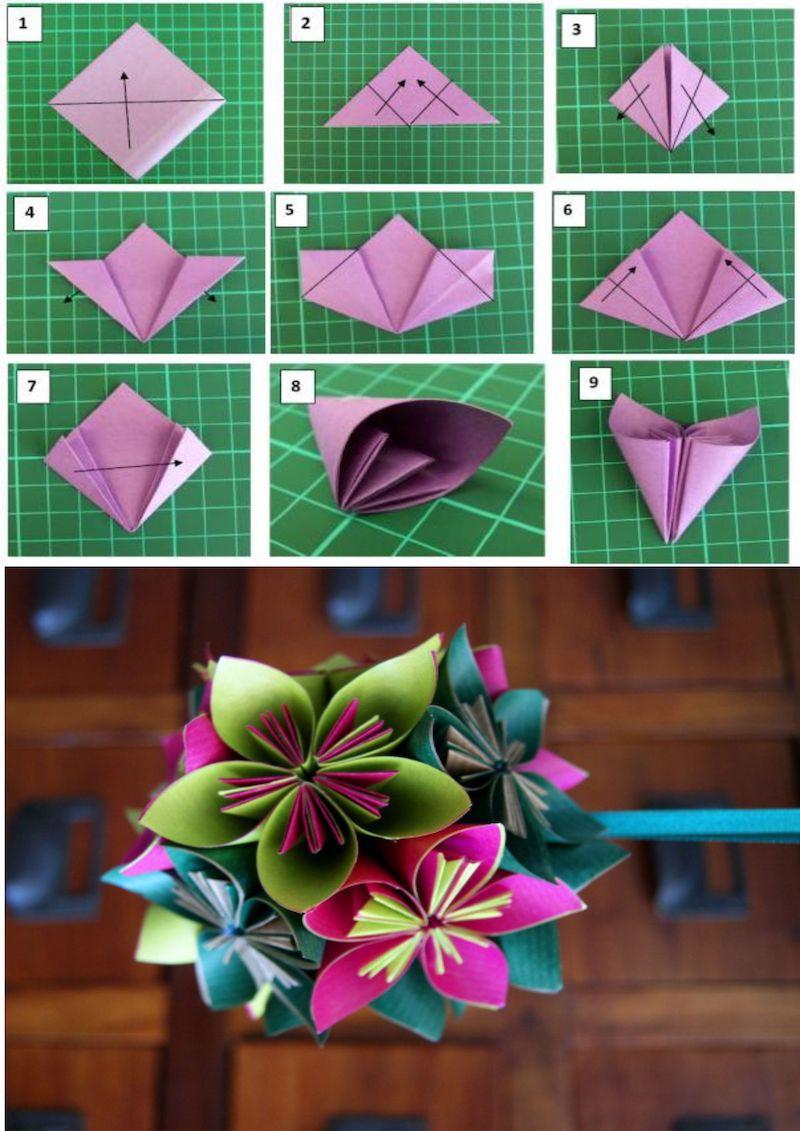 origami blumenstrauß papierblumen bunte farben mit anleitung