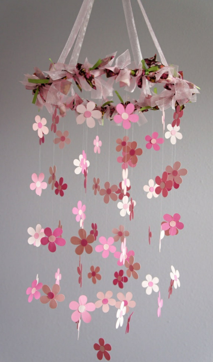 origami-rosa-blumen-mobile-Babyzimmer-süß-hängende-Dekoration