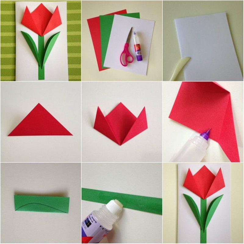 origami tulpe anleitung origami karte basteln mit nur 3 farben