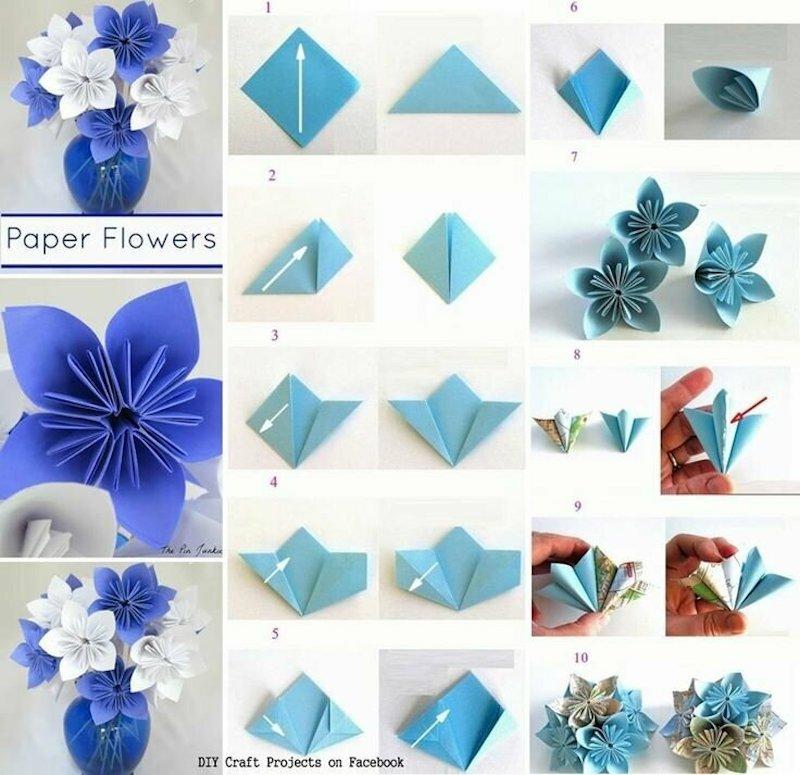 papierblumen falten anletiung schritt für schritt bis zum blumenstrauß