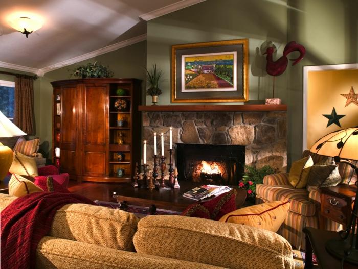 private-Wohnung-Atlanta-Landhausstil-Interieur-rustikale-Möbel-Kamin