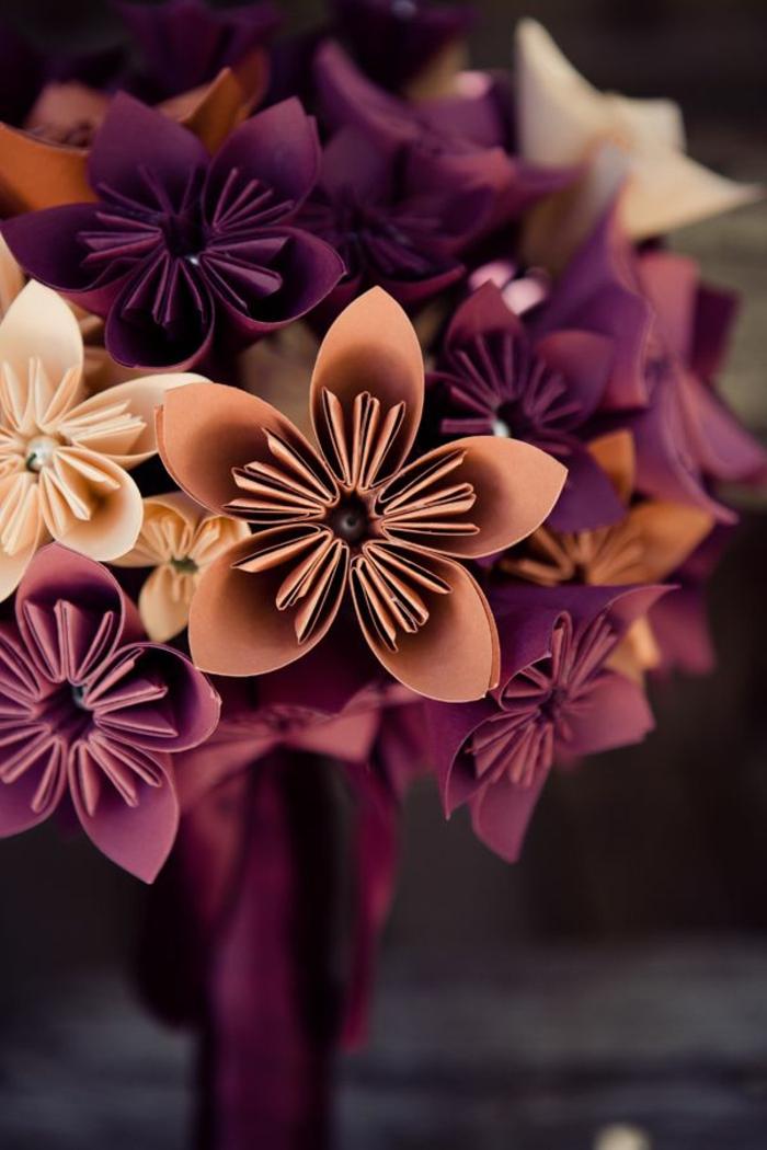 romantische-Blumen-weinrot-orange-creme-farbe-weiche-Nuancen-Origami-Kunst-Papier-Perlen