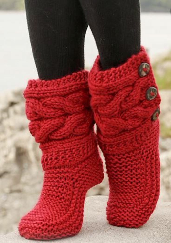 rote-Socken-Crochet-Damen-Hausschuhe
