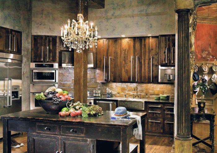 rustikale-Küche-moderne-Möbel-landhausstil-Äpfel-Hüte-Einbaugeräte-Kristalle-Kronleuchter