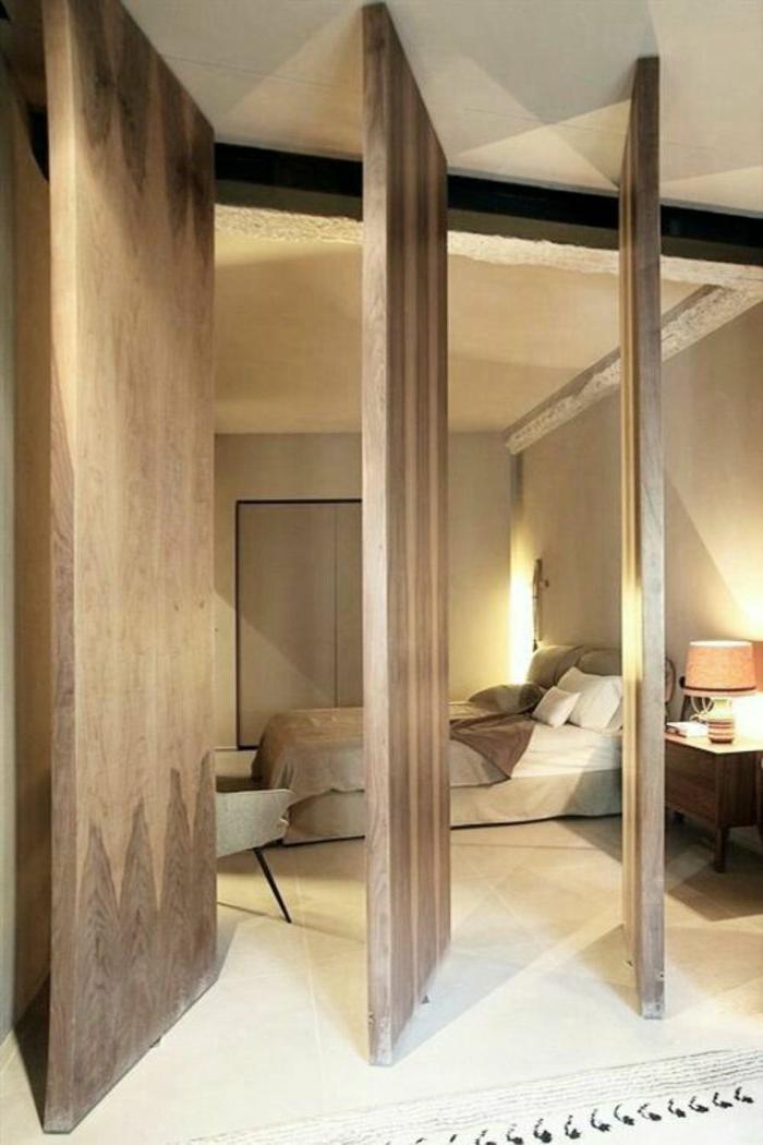 rustikale-Schlafzimmer-Gestaltung-Schiebetüren-innovatives-Design