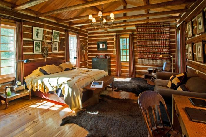Rustikales Schlafzimmer Holz Moderne Landhausmöbel Großes Bett Pelz