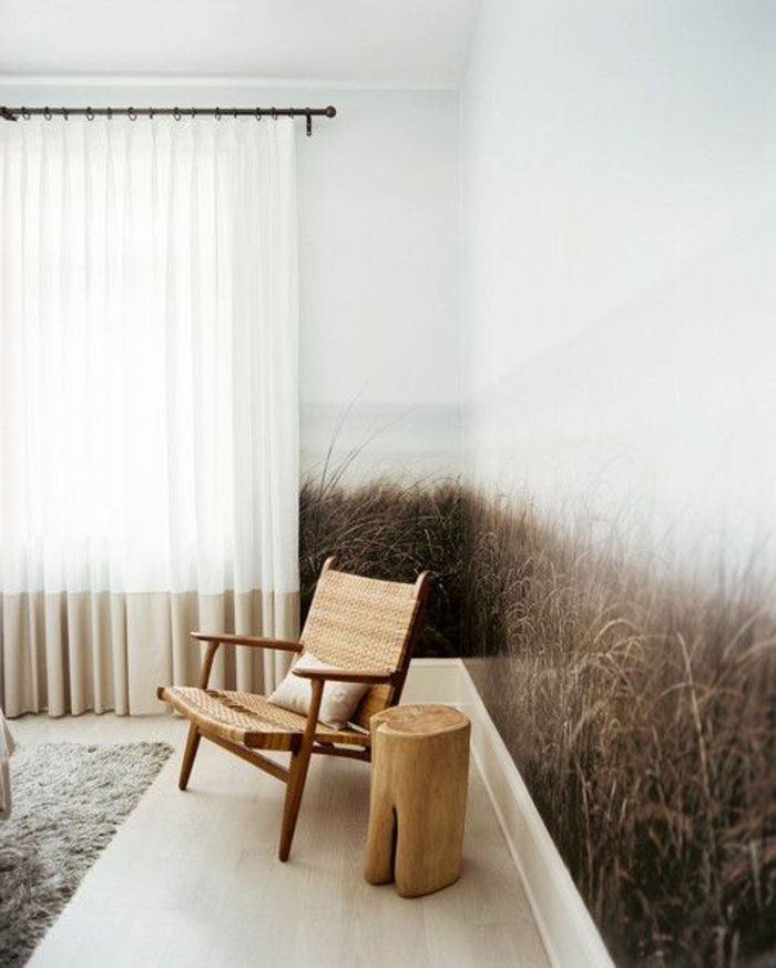 rustikales-minimalistisches-Interieur-Gardinen-Tapeten-ombre-effekt-Feld-Bild