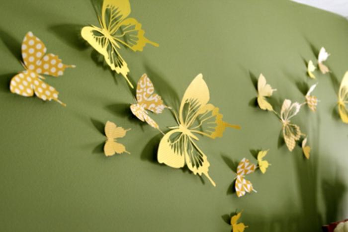 schmetterlinge-deko-gelbe-papiermodelle