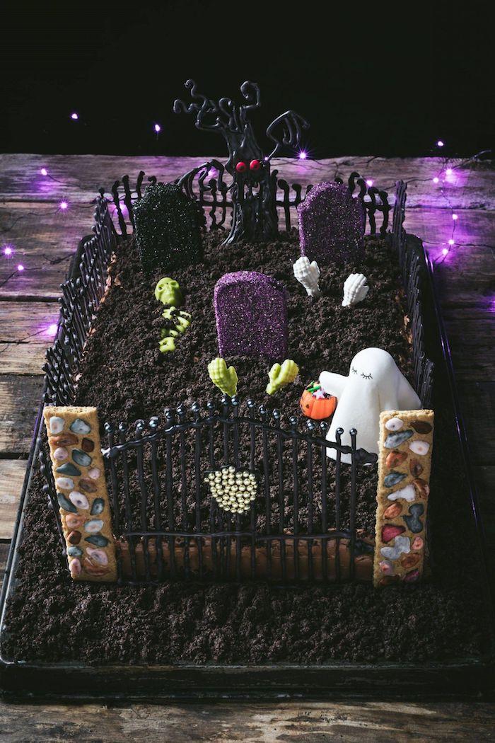 schokoladenkuchen friedhof wießer geist graben zombies ausgefallene halloween rezepte kindergeburtstagsparty