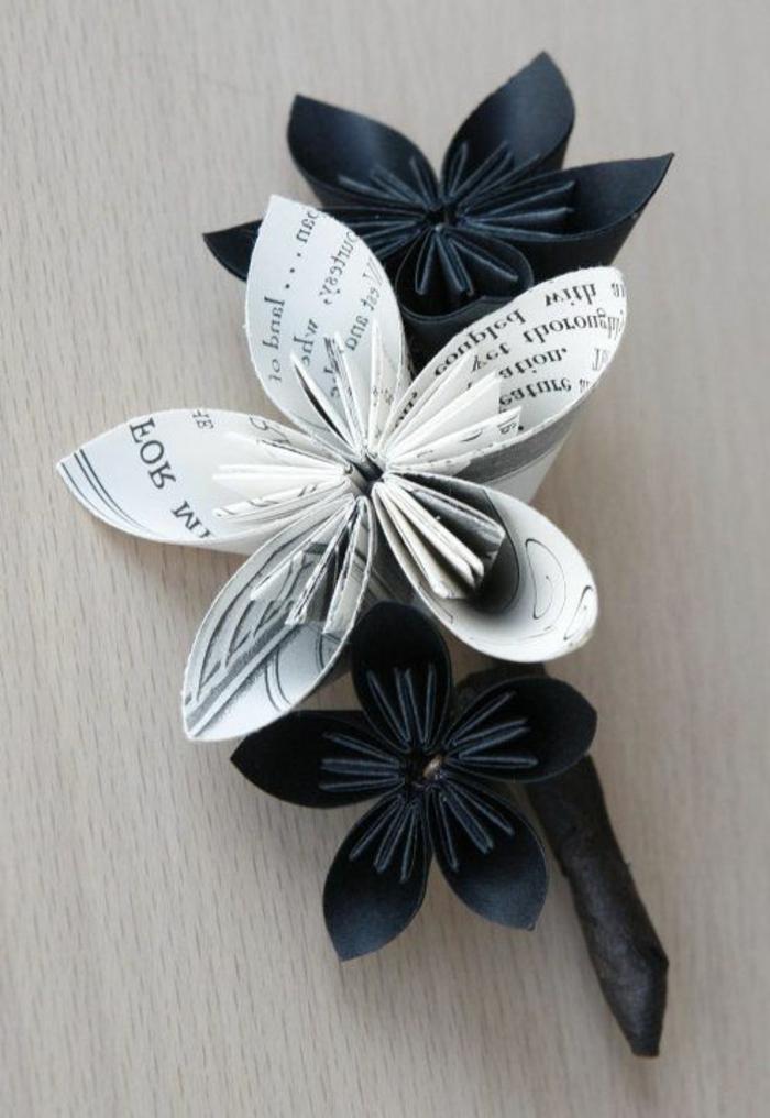 schwarz-weiße-origami-blumen-handgemacht-schöne-Zusammensetzung-Jacke-Dekoration