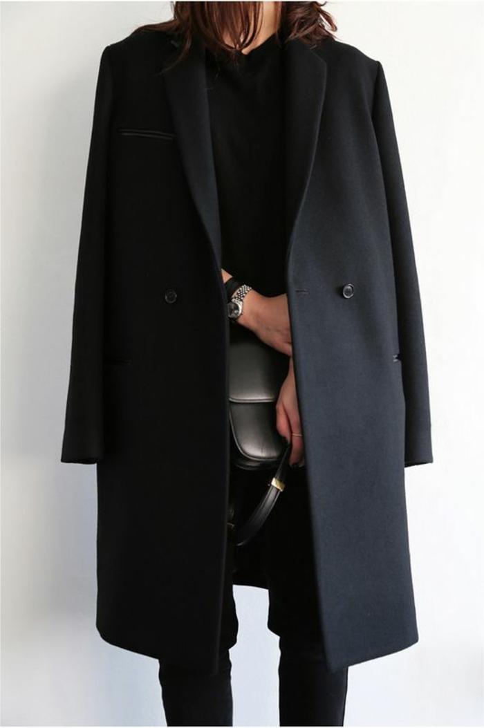 schwarzer-Outfit-elegantes-Design-Mantel-Damen-schwarz