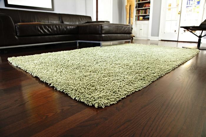 shaggy-teppich-grüne-farbe