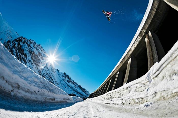 wunderschöne snowboarding wallpaper - blauer himmel