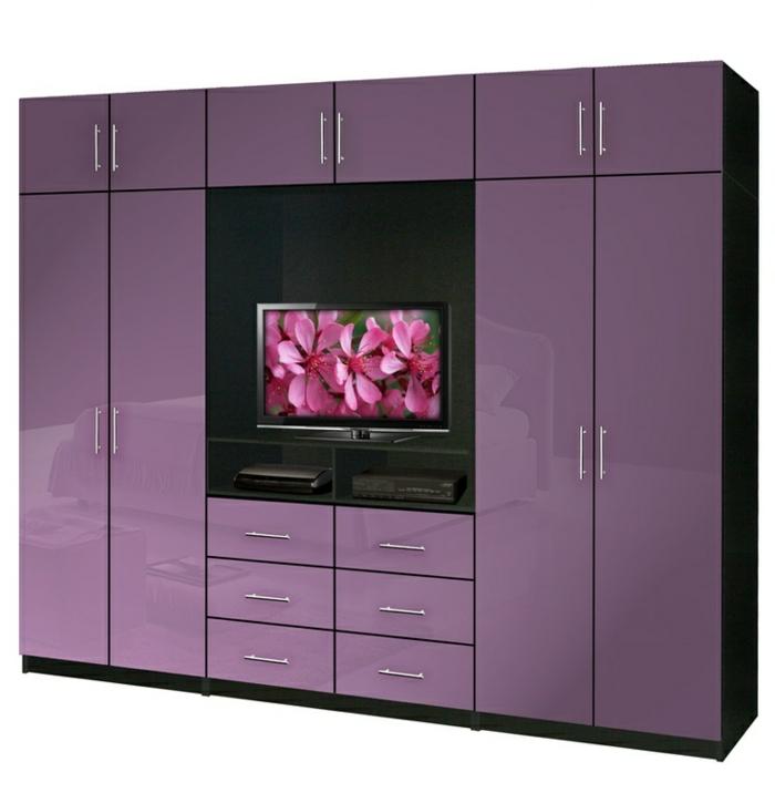 tv- wandschrank-lila-farbe-weißer-hintergrund