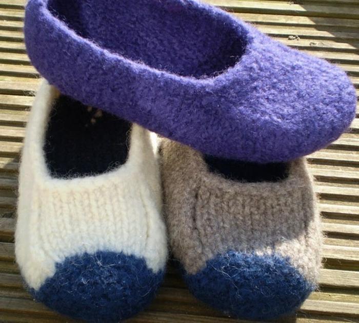 verfilzte-Wolle-Hausschuhe-Damen-verschiedene-Farben