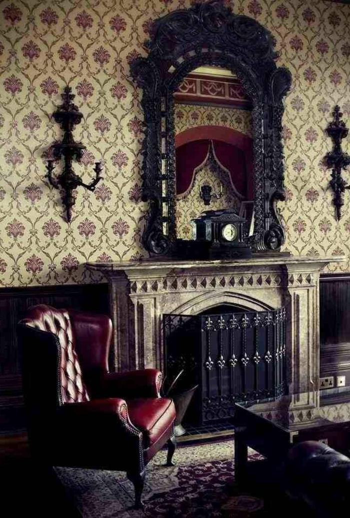 viktorianische-Wohnzimmer-Gestaltung-dunkle-Möbel-Kamin-stilvolle-Tapeten