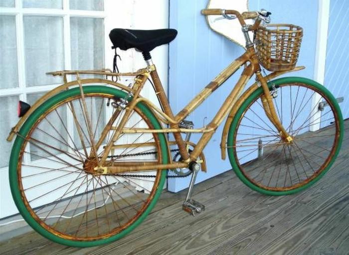 vintage-Fahrrad-Bambus-Korb