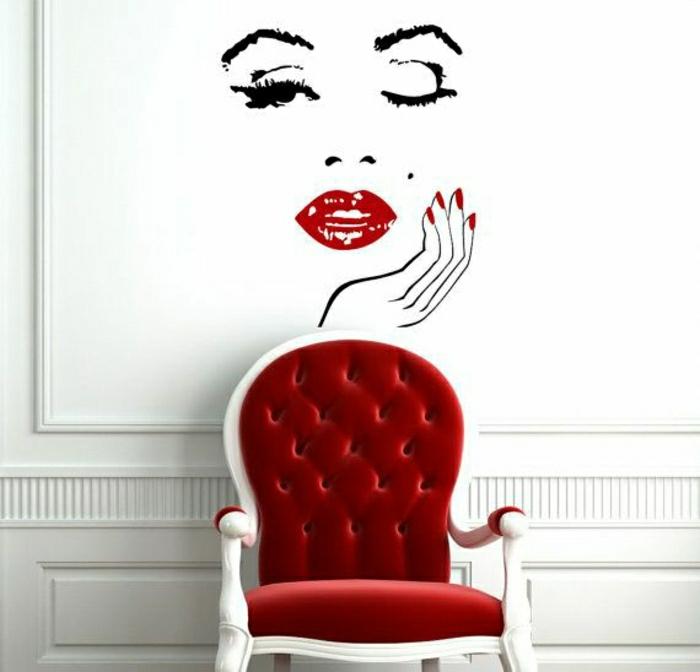 vintage-Gestaltung-roter-Sessel-Barock-Stil-Wandsticker-Marilyn-Monroe-Gesicht