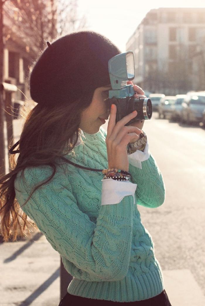 vintage-Modell-Camera-Mädchen-Barett-Mütze-Wolle