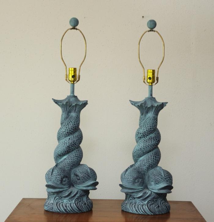vintage-Tischlampen-blau-goldene-Elemente-asiatisch-orientalisch