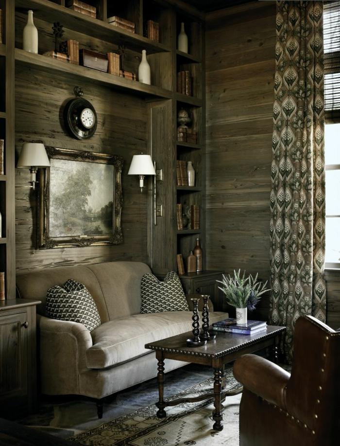 vintage-Wohnzimmer-moderne-Landhausmöbel-Ledersessel-Kerzenhalter-klassisches-Modell-Kaffeetisch-Holz
