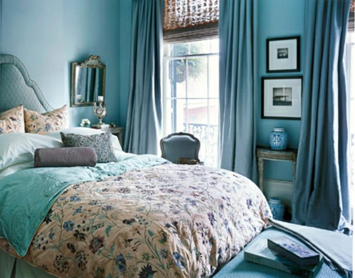 wandfarbe-blau-elegantes-und-süßes-schlafzimmer